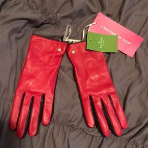 Kate Spade red leather gloves